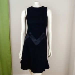 Vintage 60s Chevron Alison Ayres Black Mini Dress